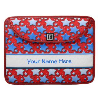 Blue White Stars on Red MacBook Pro Sleeve