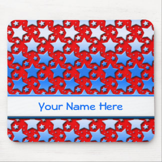 Blue White Stars on Red Mouse Mat
