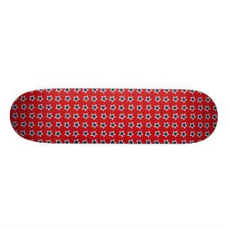 Blue & White Stars on Red Skateboard Decks