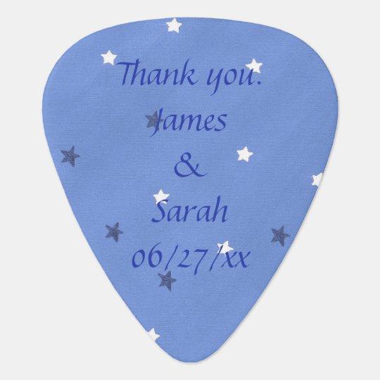 Blue White Stars Personalised Guitar Picks Favours
