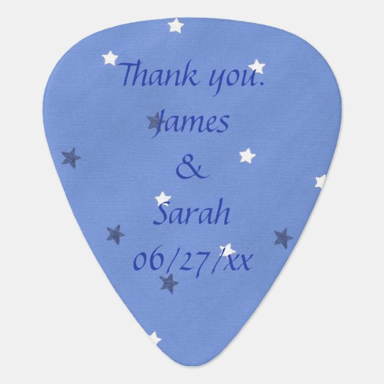 Blue White Stars Personalised Guitar Picks Favours Plectrum