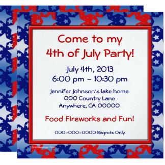 Blue White Stars Red Blue Stripes 13 Cm X 13 Cm Square Invitation Card
