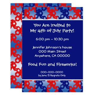 Blue White Stars Red Blue Stripes 13 Cm X 18 Cm Invitation Card