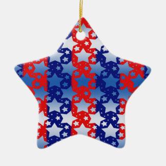 Blue White Stars Red Blue Stripes Christmas Ornament