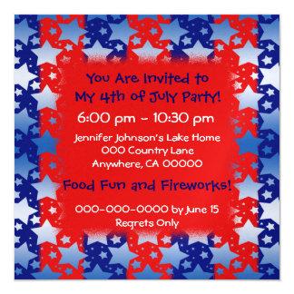 Blue White Stars Red Blue Stripes 5.25x5.25 Square Paper Invitation Card