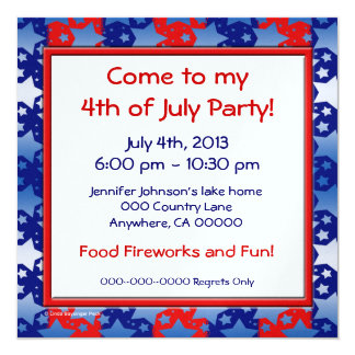 Blue White Stars Red Blue Stripes Personalized Announcements