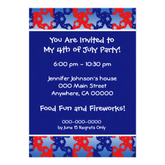 Blue White Stars Red Blue Stripes Personalized Invitation