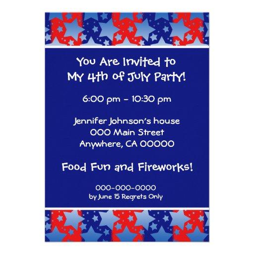 Blue White Stars Red Blue Stripes Personalized Invitation