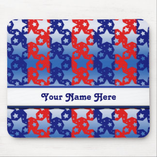 Blue White Stars Red Blue Stripes Mouse Pad