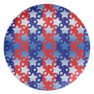 Blue White Stars Red Blue Stripes Plate