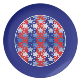 Blue White Stars Red Blue Stripes Party Plate