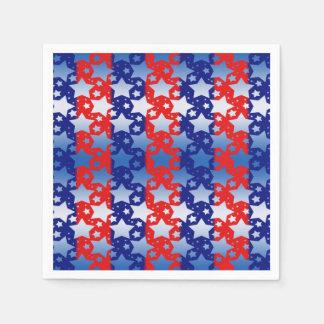 Blue White Stars Red Blue Stripes Paper Napkins