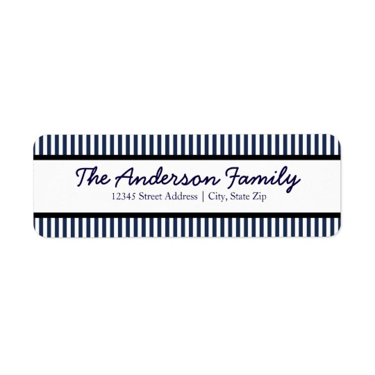 Blue & White Stripe - Address Label