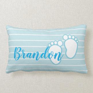 Blue White Stripe Baby feet Footprint Personalised Lumbar Cushion