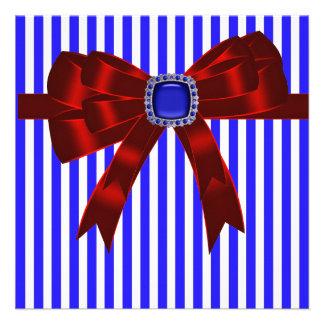 Blue White Stripe Company Picnic BBQ Announcement