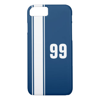 Blue & White Stripe Jersey Numbered iPhone 7 Case