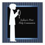 Blue White Stripe Rosary Boys First Communion Personalised Invitation