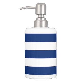 Blue White Stripe Soap Dispenser And Toothbrush Holder