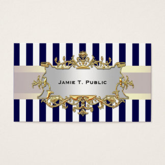 Blue White Stripe, White Ribbon, Gold Framed Label Business Card