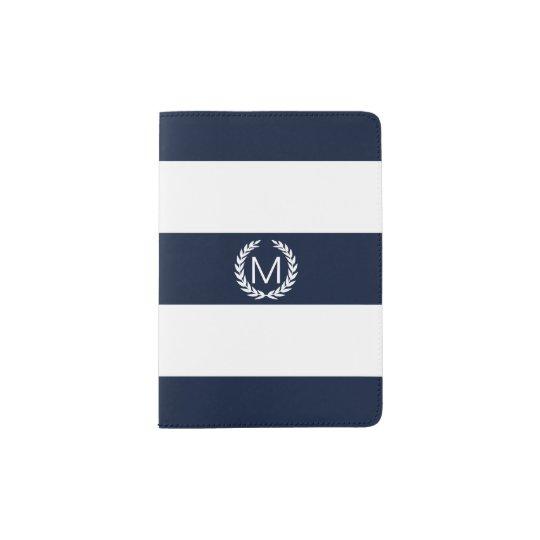 Blue & White Stripe with Laurel Wreath Monogram
