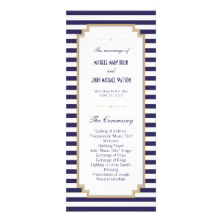Blue White Striped Wedding Program Rack Cards