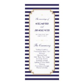 Blue White Striped Wedding Program Rack Cards