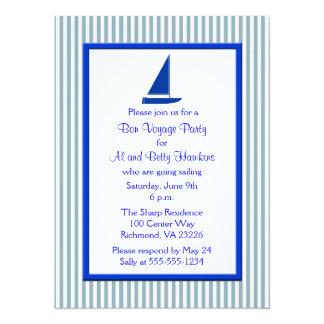 Blue White Stripes Boat Bon Voyage Party 14 Cm X 19 Cm Invitation Card