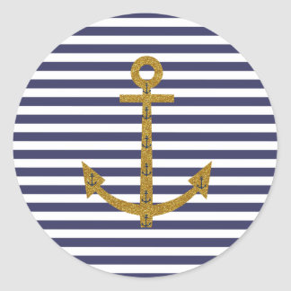 Blue White Stripes Gold Anchor Glitter Print Classic Round Sticker