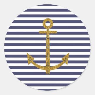 Blue White Stripes Gold Anchor Glitter Print Round Sticker