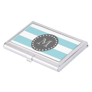 Blue White Stripes Pattern, Charcoal Monogram Business Card Holder