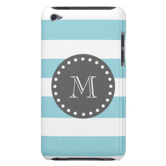 Blue White Stripes Pattern, Charcoal Monogram Barely There iPod Covers
