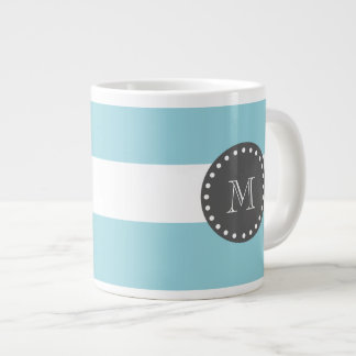Blue White Stripes Pattern, Charcoal Monogram Large Coffee Mug
