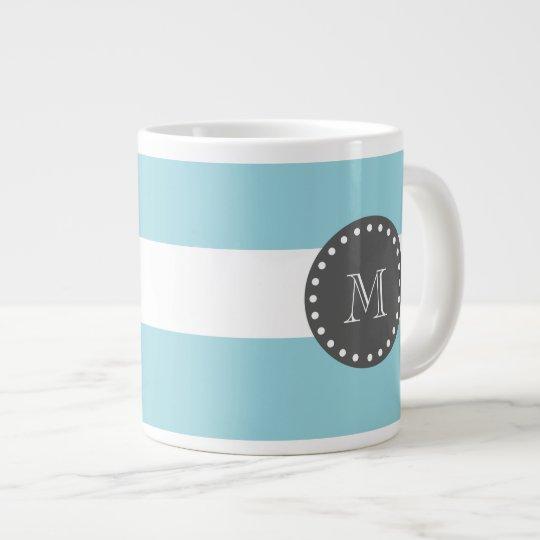 Blue White Stripes Pattern, Charcoal Monogram Large Coffee