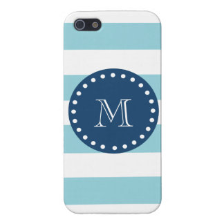 Blue White Stripes Pattern, Navy Blue Monogram Case For The iPhone 5