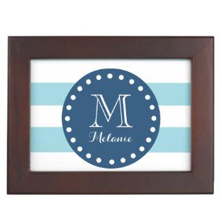 Blue White Stripes Pattern, Navy Blue Monogram Keepsake Boxes