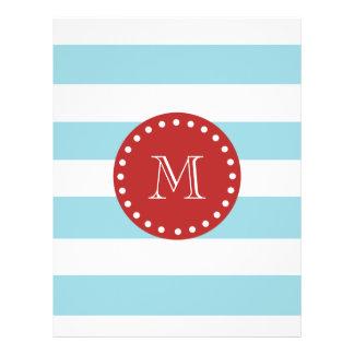 Blue White Stripes Pattern, Red Monogram Flyer Design