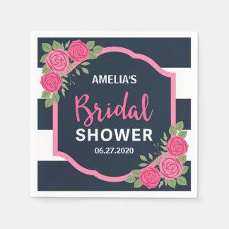 Blue White Stripes Pink Roses Bridal Shower Paper Napkins