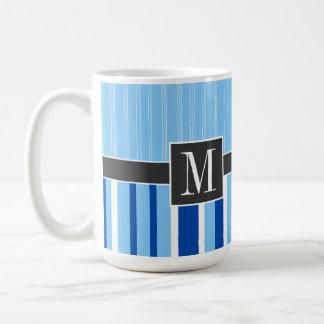 Blue White Stripes trendy Coffee Mugs