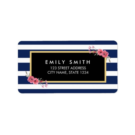Blue White Stripes with Watercolor Floral Address Address Label