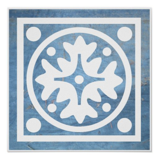Blue White Stylised Floral Cross Square Poster