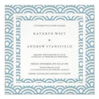 Blue + White Stylized Waves Elegant Beach Wedding Card