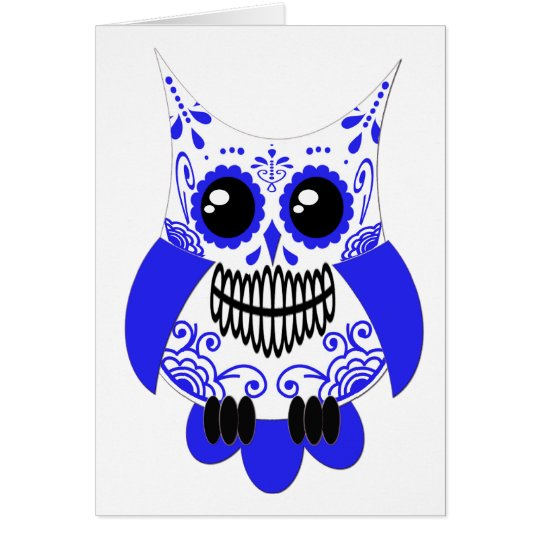 Blue White Sugar Skull Owl Card