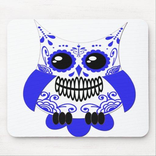 Blue White Sugar Skull Owl Mousepad