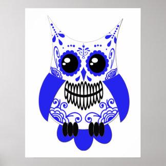 Blue White Sugar Skull Owl Poster