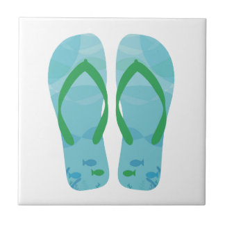 Blue White Summer Beach Flip Flops Ceramic Tile