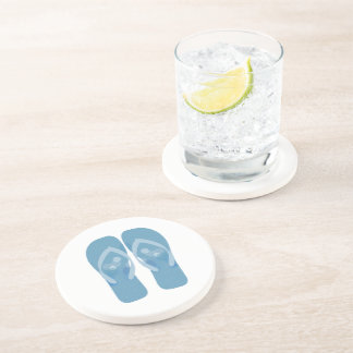 Blue White Summer Beach Flip Flops Coaster