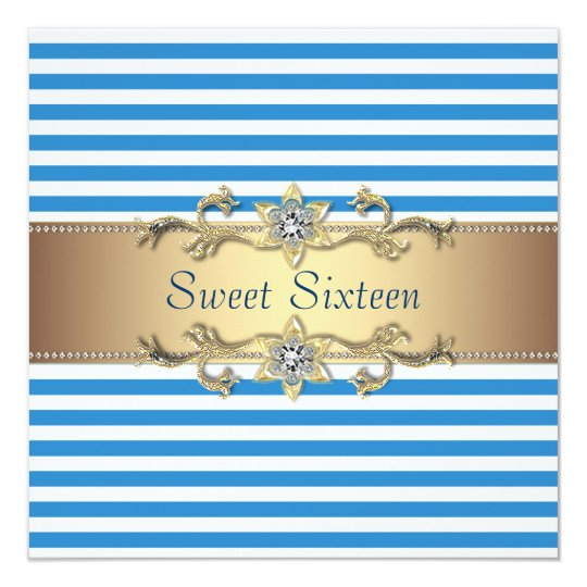 Blue White Summer Stripe Sweet Sixteen Party Card