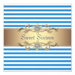 Blue White Summer Stripe Sweet Sixteen Party Custom Invites