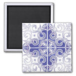 Blue White Swirl Inspired by Portuguese Azulejos Magnets