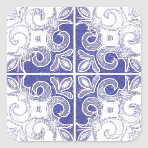 Blue White Swirl Inspired by Portuguese Azulejos Stickers